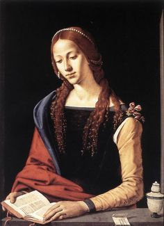 """St Mary Magdalene Piero Di Cosimo (Italian High Renaissance, Oil on panel. Galleria Nazionale d'Arte Antica, Rome. A repentant Mary reads from a book. Renaissance Kunst, Renaissance Portraits, Renaissance Paintings, Italian Renaissance, Renaissance Jewelry, Renaissance Artists, Maria Magdalena, Italian Painters, Italian Artist"