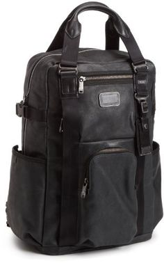 Tumi Luggage Alpha Bravo Lejeune Backpack, Black, Medium TUMI. $375.35. Zip pocket. Internal features: Zip pocket, Open pockets, Phone and Card pockets, Pen loops, Key leash, Large pocket for laptop or files. Front U-zip pocket. Leather top carry handle. Two waterproof side pockets. Save 37% Off!
