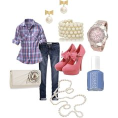 Pink & Blue, created by christina1969 on Polyvore