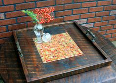 Large Ottoman Tray Stained Glass Mosaic by natureinspiredcrafts