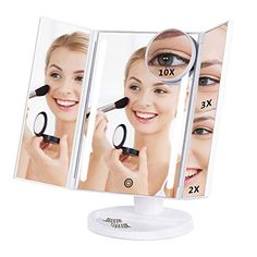 Lighted Makeup Mirror Batteries Or Usb Charging Trifold Vanity