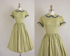 vintage 1950s dress / chartreuse and grey by simplicityisbliss, $68.00