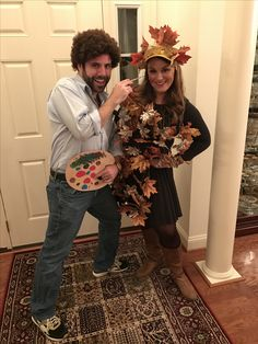 bob ross and a painting of tree costumes halloween