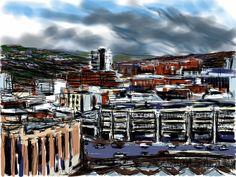 Craig Longmuir, 'Sheffield Cultural Industries Quarter', iPad drawing, en plein air.