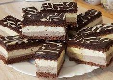 Zita szelet (chocolate sponge with vanilla cream and chestnut pureé) Hungarian Desserts, Hungarian Recipes, Eastern European Recipes, Chocolate Sponge, Cake Bars, Christmas Baking, Cake Cookies, Cake Decorating, Dessert Recipes