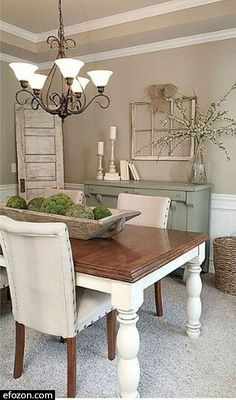 Are you redesigning your kitchen to give a country or a rustic feel? Have you considered making the centerpiece a nice farmhouse t #table #diningtable Dining Room Walls, Dining Room Design, Dining Room Furniture, Dining Area, Wooden Furniture, Kitchen Walls, Kitchen Sink, Antique Furniture, Furniture Ideas
