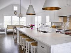 Great kitchen lighting by Visual Comfort New Kitchen, Kitchen Dining, Kitchen Decor, Kitchen Island, Kitchen Ideas, Kitchen Seating, Long Kitchen, Shaker Kitchen, Decorating Kitchen