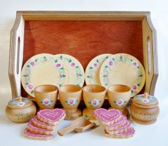 Tea Set Wooden Tea Set Tea Set with Tray Girls by 2HeartsDesire, $55.00 Hand Crafted In The U.S.A.