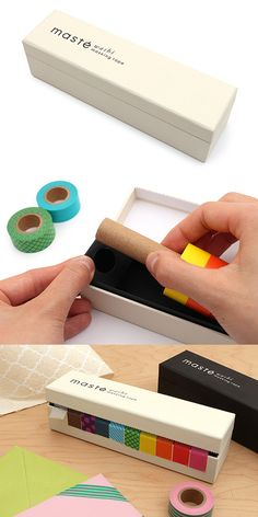 This attractive case will keep up to 10 rolls of Mark's Maste washi tape organized and easily accessible on your desk or crafting station.