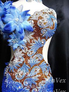 Ballroom Latin Samba Cha Cha Ramba Dance Dress US 8 UK 10 Skin Blue Flowers | eBay