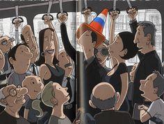 Ilustración de David Granados Niubó para la obra El Sombrero Original y la Ciudad Gris.