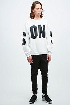 Sons Loopback Typeface Sweatshirt in Ivory - Urban Outfitters