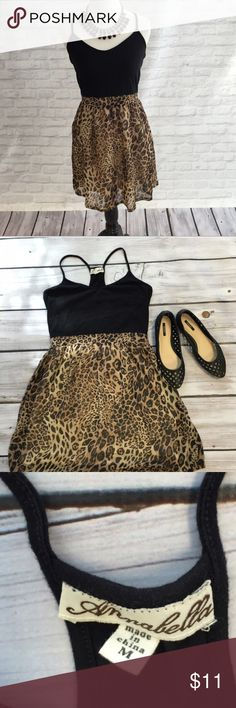 Black and Leopard Print Dress Black material is stretchy, bottom half is flowy. Racer back. Versatile and perfect for any occasion Dresses Midi