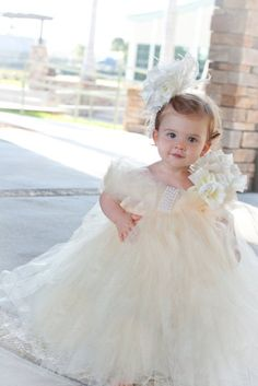 Sweet Ivory Princess Girls Tutu Dress by PoshBabyStore.com