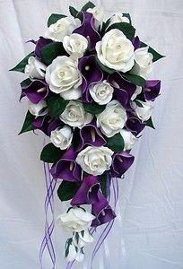 Purple Calla Lily Wedding Bouquet | WEDDING BOUQUET,PURPLE CALLA LILY,ROSES,DIAMANTE | eBay