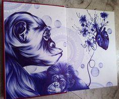 """Série: """"Espelho às Avessas"""" Técnica: Caneta esferográfica sobre papel Ano: 2013 by Saramello  www.saramello.com"""
