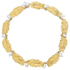 Buccellati 18k Gold & Baroque Pearl Leaf Necklace
