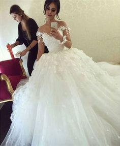 Sexy Off Shoulder Ball Gown Wedding Dress White Ivory Bridal Gown Custom Size in…