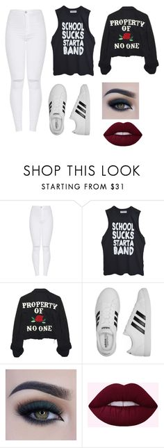 """Untitled #1884"" by jack-barakat-trash ❤ liked on Polyvore featuring High Heels Suicide, adidas and Too Faced Cosmetics"