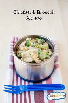 easy chicken and broccoli alfredo skilet meal turns leftovers into a healthy thermos lunch! Perfect for the office or school!