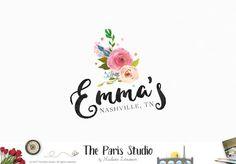 Watercolor Floral Logo Design Boutique Logo Branding Photography Logo Design