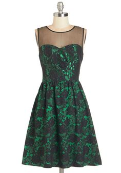 Mesmerizing Mademoiselle Dress. Say 'oui' to this fetching fit-and-flare dress and style an ensemble around its many phenomenal facets! #green #modcloth