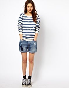 Image 1 of River Island Boyfriend Denim Short