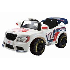 NASCAR Dale Earnhardt, Jr. Convertible Car 12-Volt Battery-Powered Ride-On, White