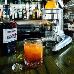 Hayman's Sloe Screw. Recipe from Bartender Nathan Stubbs of The Saint Street Inn in Lafayette, Louisiana. Photo by Denny Culbert.