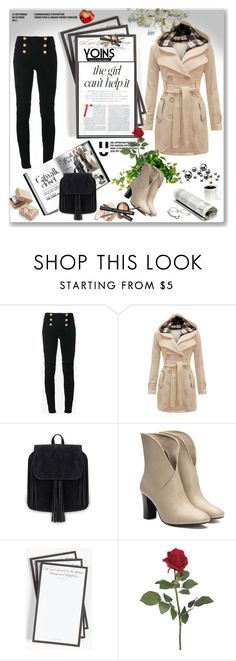 """YOINS  14"" by barbara-996 ❤ liked on Polyvore featuring Balmain, Ben's Garden, Jennifer Lopez, Chronicle Books, yoins, yoinscollection and loveyoins"