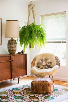 mcm modern boho bohemian hippie style chic retro vintage gypsy texture rug papasan chair console 60's