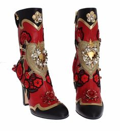 Roses Crystal Gold Heart Leather Boots Shoes Dolce & Gabbana // Was Block Heel Boots, High Heel Boots, Heeled Boots, Bootie Boots, Shoe Boots, High Heels, Shoes Heels, Crazy Shoes, Me Too Shoes