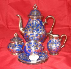 VINTAGE ROSENTHAL SOLID SILVER OVERLAY OVER COBALT BLUE PORCELAIN COFFEE/TEA SET #ebaycollections