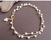 Holiday Sale - Hand Crocheted Pearls Bracelet, Bridal Jewelry, Gold Pearl Bracelet, Gold Bracelet, Dainty Bracelet