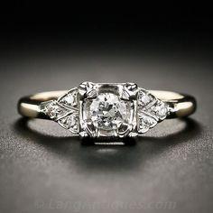 white gold and diamond engagement ring LAEJ 1950s Engagement Ring, Vintage Engagement Rings, Diamond Engagement Rings, Vintage Art Deco Rings, Wedding Rings Vintage, Wedding Jewelry, One Carat Diamond, Art Nouveau, Vintage Diamond