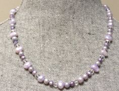 Lavender Purple Pearl and Crystal Necklace Sterling by Links & Locks, $25.00