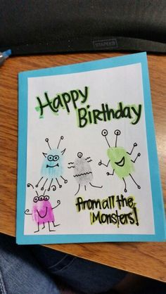 Monster Birthday card for dad from kids, using their fingerprints!!! So easy and fun!