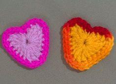 Corazónes coloridos en Tejido Crochet