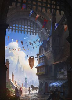 ArtStation - The Inn at Komodo Gate, Scott Duquette Fantasy Town, High Fantasy, Medieval Fantasy, Fantasy World, Landscape Concept, Fantasy Landscape, Landscape Designs, Landscape Art, Fantasy Concept Art
