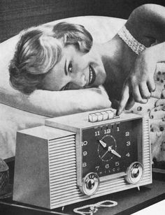 Snooze button.  Detail from 1958 Philco clock radio ad.