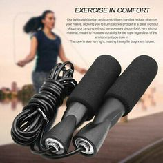 Buy Bearing Skip Rope Adjustable Boxing Skipping Sport Jump Ropes Gym Exercise Fitness Equipment with Thickened Anti-slip Foam 1000 Calories, Burn Calories, Hiit, Gym Workouts, At Home Workouts, Mousse, Rope Training, Rope Exercises, Speed Rope
