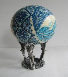 Blue Pysanka - batik egg, Ostrich egg shell, Ukrainian Easter egg, hand painted egg