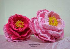 Crochet peony flowers and beautiful bouquet