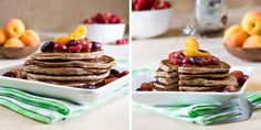 Coconut Pancakes with Roasted Fruit Topping (coconut water)