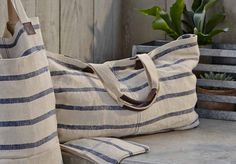 Roomy Washed Linen Striped Tote