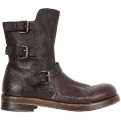 CORVARI 40mm Soft Leather Biker Boots ($203) ❤ liked on Polyvore featuring mens, men's shoes, men's boots и brown