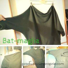 Tutorial di cucito facile Bat-maglia. Maglia morbida con scollo a barca, maniche a pipistrello e fascia sui fianchi. Progetto di cucito per principianti.
