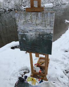 "548 отметок «Нравится», 11 комментариев — Lynn (@boggess_fine_art) в Instagram: «15x13"" A fresh four inches of snow! #pleinair #pleinairpainting #art #painting #snow #winter #water…»"