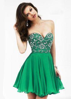 sherri hill prom dresses 2015 | Short Green Sherri Hill 8548 Floral Beaded Prom Dress 2015