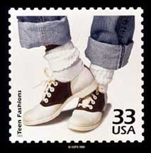 Fashion essentials -- rolled up jeans, rolled down bobby socks, saddle oxfords
